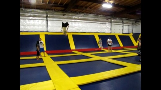 Single, Double and TRIPLE Flips and one EPIC FAIL!  At Sky High Sports Portland, OR