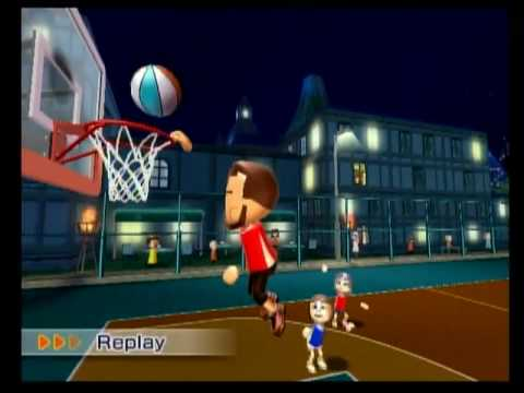 Wii Sports Resort- Basketball CPU Dunk Fail