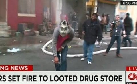 Baltimore Riots: Masked Rioter Cuts Fire Hose on Live TV, Comes Back and Does It Again! Freddy Gray