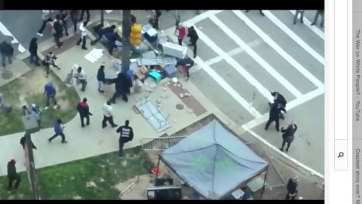 Chaos in Baltimore: Black on white beat downs
