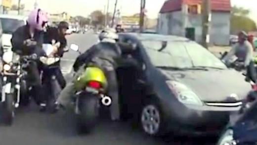 Part 2 ROAD RAGE: NYC Bikers vs TOYOTA PRIUS, assault series SUV New York swarm of bikers accident