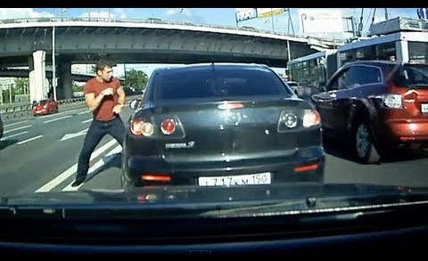 road rage attack on dash camera