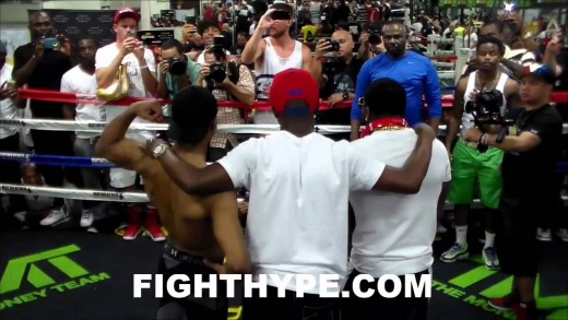 ADRIEN BRONER TRADES WORDS WITH TEAM PORTER DURING WORKOUT; FLOYD MAYWEATHER SETTLES HIM DOWN