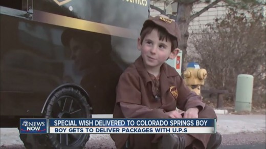 Boy gets to deliver packages with UPS