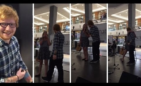 Ed Sheeran surprising teenage fan on stage in the Mall