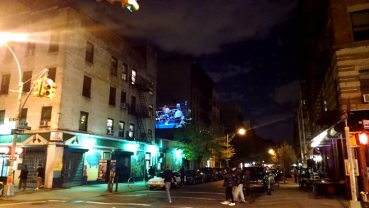 Floyd may weather winning punch projected on a building in NYC