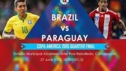 Live Streaming : Brazil vs Paraguay 2015 Full Match – Quarter Finals