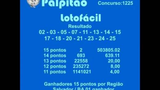 LOTOFACIL CONCURSO 1225 22062015