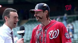 Max Scherzer gets covered in chocolate sauce after his one-hitter