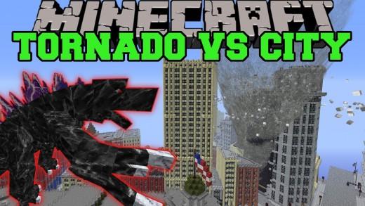 MOBZILLA & TORNADO MOD VS NEW YORK CITY – Minecraft Mods Vs Maps (Bosses, Deadly Weather)