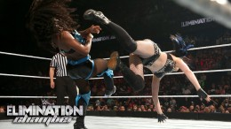 WWE Network: Nikki Bella powerbombs Paige and Naomi: WWE Elimination Chamber 2015