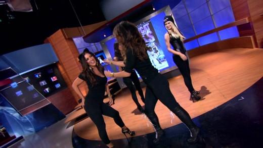 Jillian Barberie Reynolds and Dorothy Lucey dancing like a Pussycat Doll!!