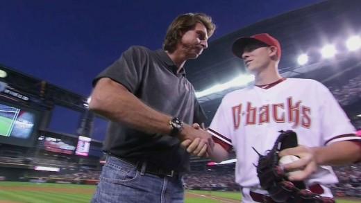 SF@ARI: Randy Johnson throws out first pitch