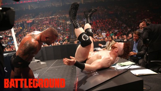WWE Network: Randy Orton sends Sheamus crashing into the announce table: WWE Battleground 2015