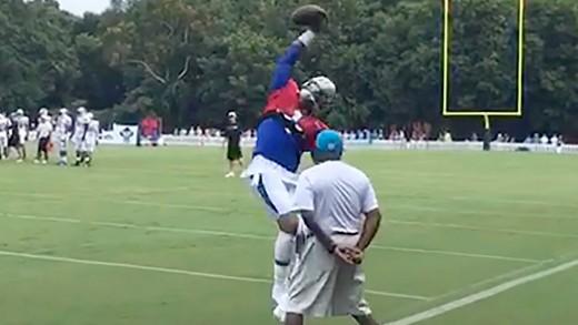 Cam Newton & JJ Watt Make One-Handed Catches in Practice