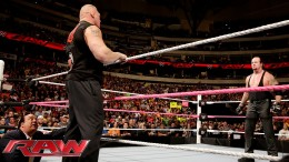 Brock Lesnar confronts The Undertaker before Hell in a Cell: Raw, October 19, 2015