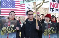 Tens of thousands protesters rally in support of ex-cop Peter Liang in NYC on Feb. 20, 2016
