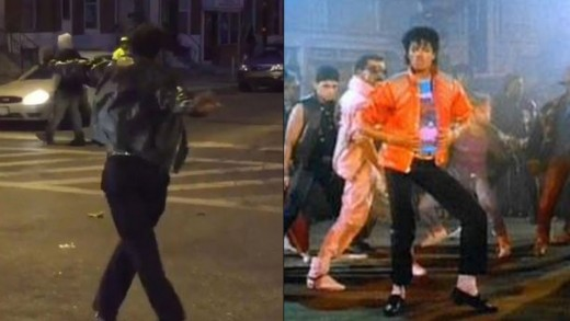 Michael Jackson Impersonator Lightens Up Baltimore Riots